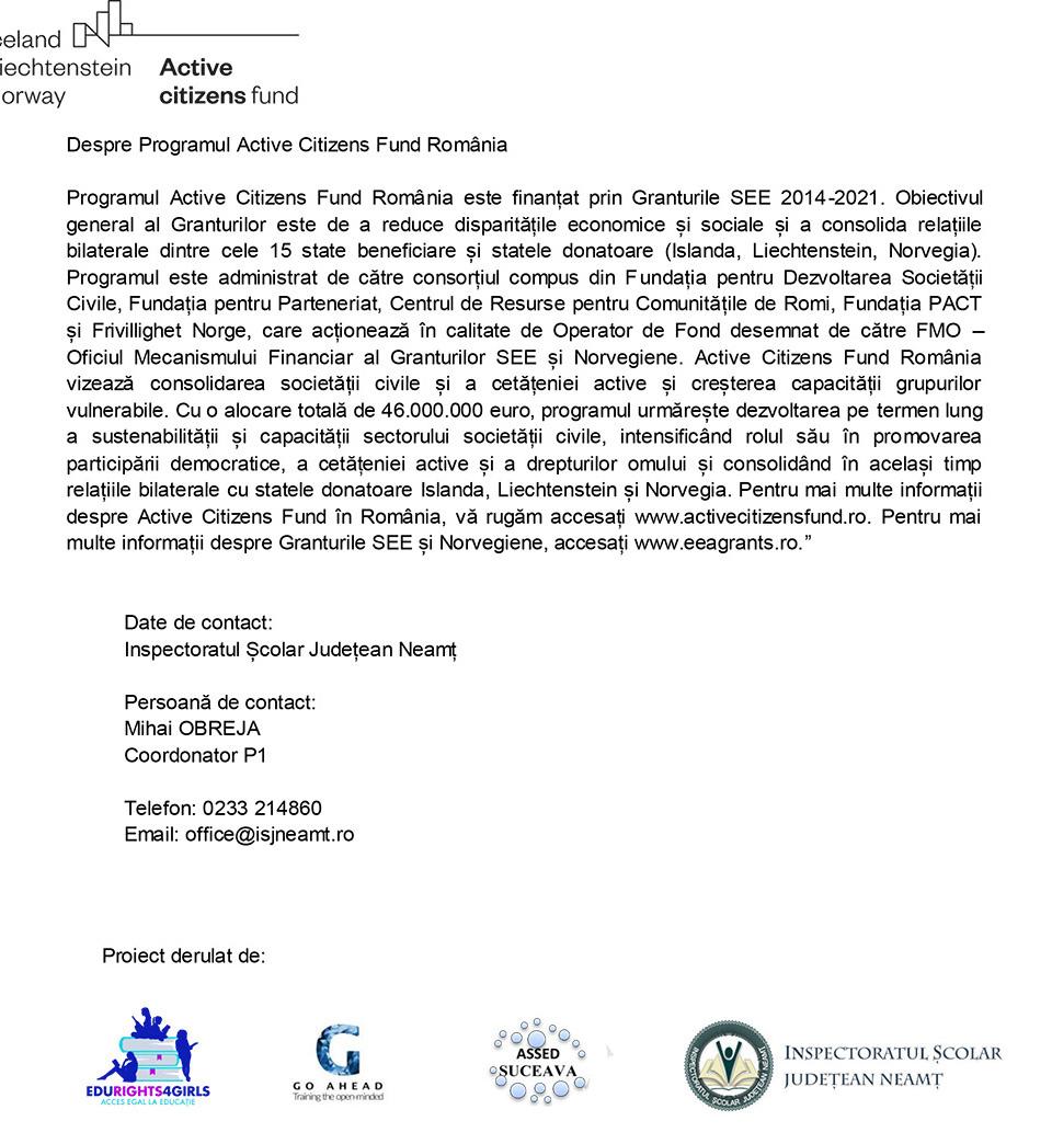"""ASSED partener în proiectul """"EDURIGHTS4GIRLS - Acces egal la educație"""""""